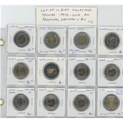 Lot of 12 different Collector Toonies 1997O – 2016: 1997O, 1999 Nunavut, 2000 Churchill, 2000W, 2001