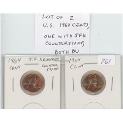 Lot of 2 U.S. 1964 cents: One with John F. Kennedy counterstamp. Both BU Red.
