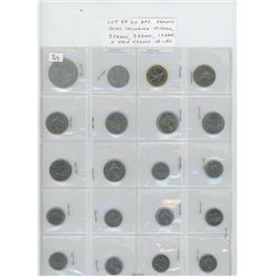 Lot of 20 different French coins including 10 Franc, 5 Franc, 2 Franc, 1 Franc and half Francs. VF-A