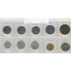 Lot of 10 different Italian coins including 1866 10 centesimi. F-BU.