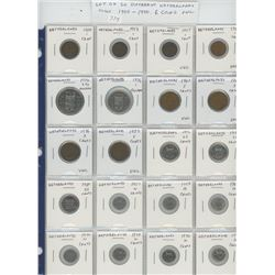 Lot of 20 different Netherlands coins: 1900 – 1990. 6 coins are Unc.