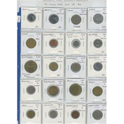 Lot of 20 different Latin American coins from Brazil, Chile, Colombia, Costa Rica, Ecuador, Guatemal