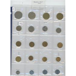Lot of 20 different Mexican coins 1936 – 1993. Several coins are Unc.