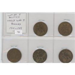 Lot of 5 British World War I pennies 1914-1918.