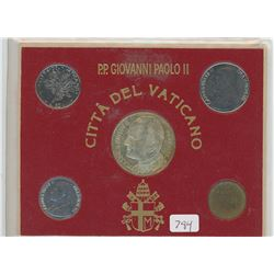 Vatican City mint set of Pope John Paul II including large silver medal.