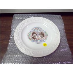 1981 Royal Wedding of Prince Charles and Princess Diana dinner plate. Portraits at centre with elabo