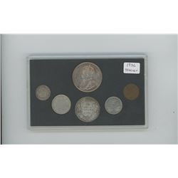 1936 6-coin Canadian Year set in custom hard plastic holder. Coins grade VG-10-VF-30.