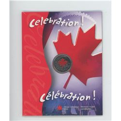 2004P Red colourized Celebration Maple Leaf 25 cents in folder of issue.