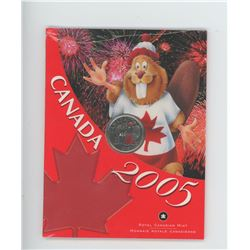 2005P Red colourized Beaver & Maple Leaf 25 cents in folder of issue.