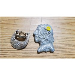 BUST HEAD OF NATIVE MAN (CAST ZINC, HEAVY), BELT BUCKLE