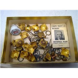 Box of buttons and an advertisement sewing repair kit