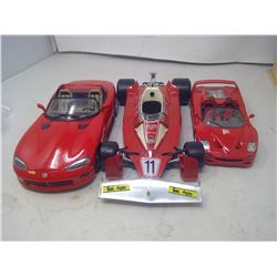 3 RED MODEL CARS