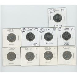 4 2007 Olympic Canadian Quarters and 5 US Quarters (1975-76)