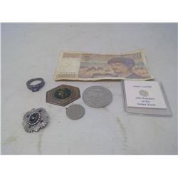 foreign bill, Sterling Silver Jimmy Carter Token, ect.
