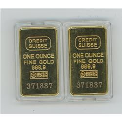 2 Gold plated Ingots (please inspect before bidding)