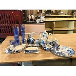 """LIBERTY BLUE"" 6 TEACUPS + 8 SMALL CUPS + TEAPOT + ETC (VINTAGE)"
