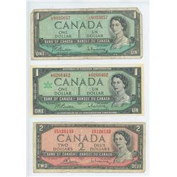 3 BANK OF CANADA DOLLAR BILLS (1954, 1967 ONE DOLLAR + 1954 TWO DOLLAR)