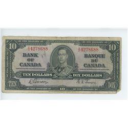 1937 BANK OF CANADA 10 DOLLAR BILL