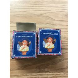 POLYSTONE ANGEL ORNAMENTS FOR LAMP TOPS (2)