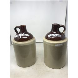 MATCHING (BROWN TOP, BEIGE BOTTOM) CROCK BOTTLES, HOLD A GALLON? (ONE HAS CHIPPED TOP AND THE OTHER