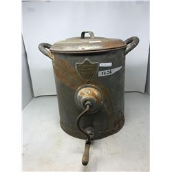"METAL BUTTER CHURN GSW TRIUMPH, TRADE NAME ""PEGO"" PAT PEND"