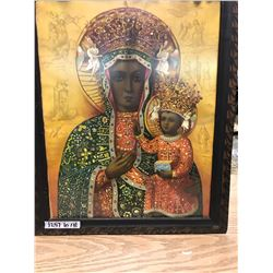 LARGE PRINT OF DARK SKINNED VIRGIN MARY AND BABY JESUS FROM UKRAINE (UKRAINE WRITING ON BACK) WOODEN