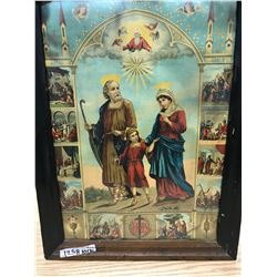 LARGE PRINT JOSEPH, MARY AND JESUS AND INSERTED SMALL PRINTS OF HOLY FIGURES (UKRAINE WRITING ON BAC