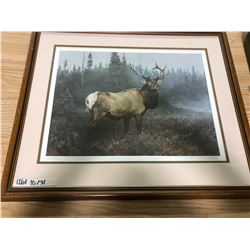 LARGE PRINT OF ELK BY WYATT, BROWN FRAME, MATTING, SMALL HOLE IN PROFESSIONALLY FRAMED BACK, 27 1/2""