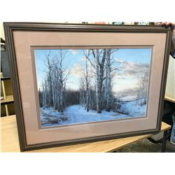 "LARGE PRINT OF TREES IN WINTER BY AL SANJENKO, 127/390, FRAME WITH MATTING 34 1/2"" X 26 1/2"""