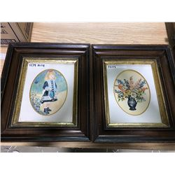 "MATCHING WOODEN AND GOLD PICTURE FRAMES (2); 13"" X 15"" OUTSIDE, 7 & 7/8"" X 9 3/4"" INSIDE (1. LITTLE"