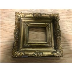 "GOLD FANCY WOODEN FRAME, CHIPPED RIGHT UPPER CORNER, OUTISDE 13 1/4"" X 12 1/4"", INSIDE 4 & 1/8"" X 4"