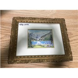 "FANCY GOLD WOODEN FRAME WITH LAKE LOUISE PRINT 11 1/2"" X 14 1/4"""