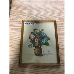 "WOODEN PICTURE FRAME 1940S-50S, 8 & 5/8"" X 10 & 1/4"" (""DEAREST MOTHER"" VASE WITH FLOWERS)"