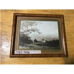 "BROWN WOODEN FRAME 12 & 7/8"" X 10 & 5/8""; (FARM BUILDINGS) MATTING."