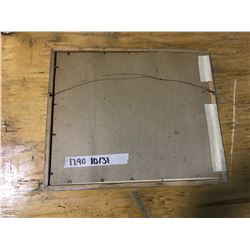 "SILVER PICTURE FRAME 10 3/4"" X 12 3/4"", NO GLASS, MATTING BISON STUDIO, WINNIPEG, (MISSING PHOTO WAS"