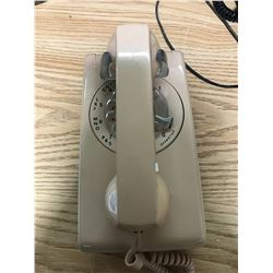 CORAL COLOURED ROTARY DIAL WALL TELEPHONE