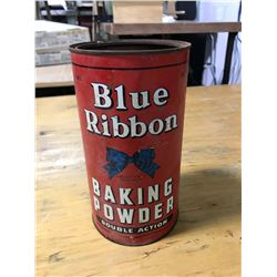 BLUE RIBBON BAKING POWDER DOUBLE ACTION RED CAN, 3 LBS, NO TOP, RUSTY INSIDE, BLUE RIBBON LTD, WINNI