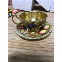 AYNSLEY, ESTABLISHED 1775, CUP & SAUCER, FRUIT DESIGN, GOLD INTERIOR HAS SLIGHT SCRATCH, EGLAND, FIN