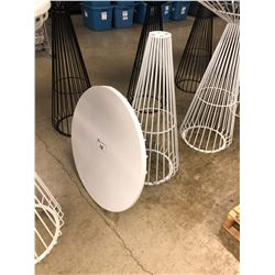 WHITE WIRE FRAME BAR HEIGHT ROUND TABLE (MISSING BOLTS)