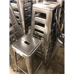 5 GREY METAL STACKING BAR STOOLS