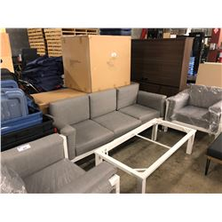 3 PIECE WHITE WOOD FRAME CONVERSATIONAL SET INC. SOFA, LOVE SEAT, ARM CHAIR AND GLASS TOP COFFEE