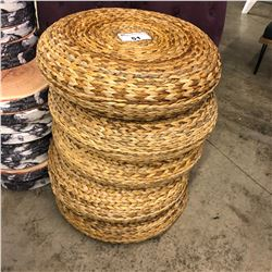 5 WICKER AND METAL FRAME FOOT STOOLS
