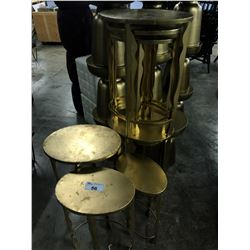 3 SETS OF 3 GOLD NESTING ACCENT TABLES
