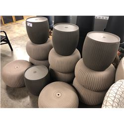LOT OF 12 WOVEN OUTDOOR POUFS
