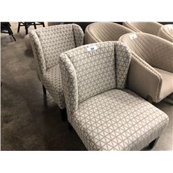 PAIR OF WHITE AND GREY PATTERNED ACCENT CHAIRS