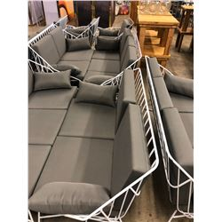WHITE WIRE FRAME PADDED SOFA SETS, WITH SOFA, LOVE SEAT, ARM CHAIR AND GLASS TOP COFFEE TABLE