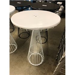 WHITE WIRE FRAME BAR HEIGHT ROUND TABLE