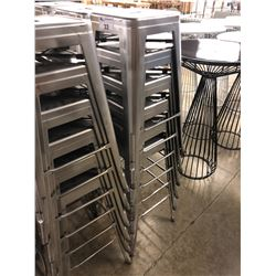 6 GREY METAL STACKING BAR STOOLS