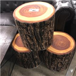 3 SOFT PADDED LOG PATTERN STOOLS