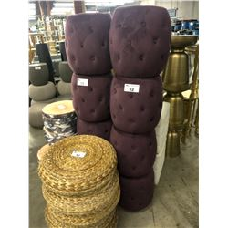 4 PLUM MICRO SUEDE PADDED STOOLS